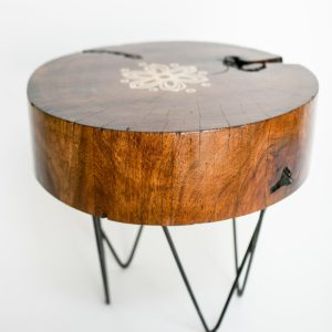 Floral Log End table1